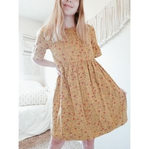 ROOLEE Yellow Floral Fit And Flare Babydoll Dress